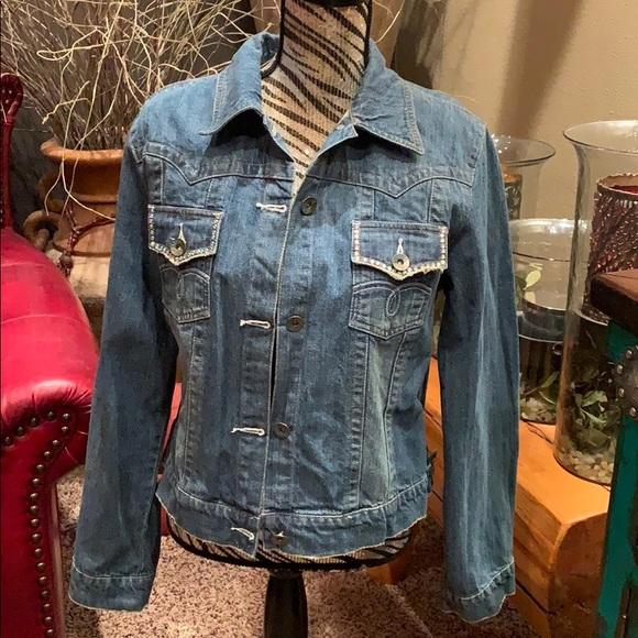 petrol Jackets & Blazers - Vintage petrol denim jacket with rhinestones
